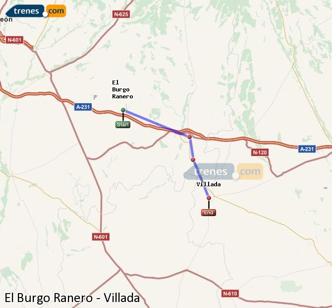 Enlarge map Trains El Burgo Ranero to Villada