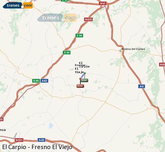 Ampliar mapa Trenes El Carpio Fresno El Viejo