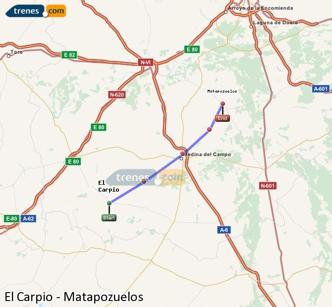 Enlarge map Trains El Carpio to Matapozuelos