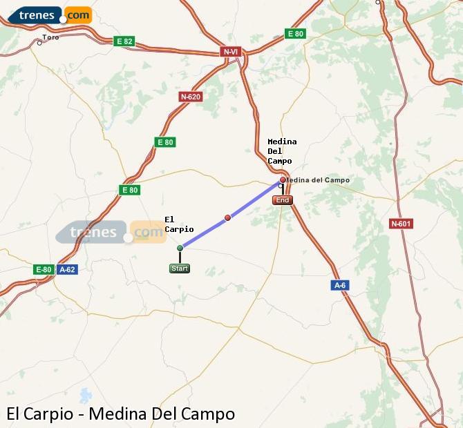 Ingrandisci la mappa Treni El Carpio Medina Del Campo