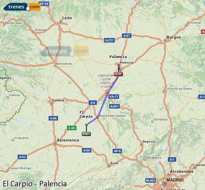 Ingrandisci la mappa Treni El Carpio Palencia