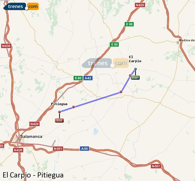 Enlarge map Trains El Carpio to Pitiegua