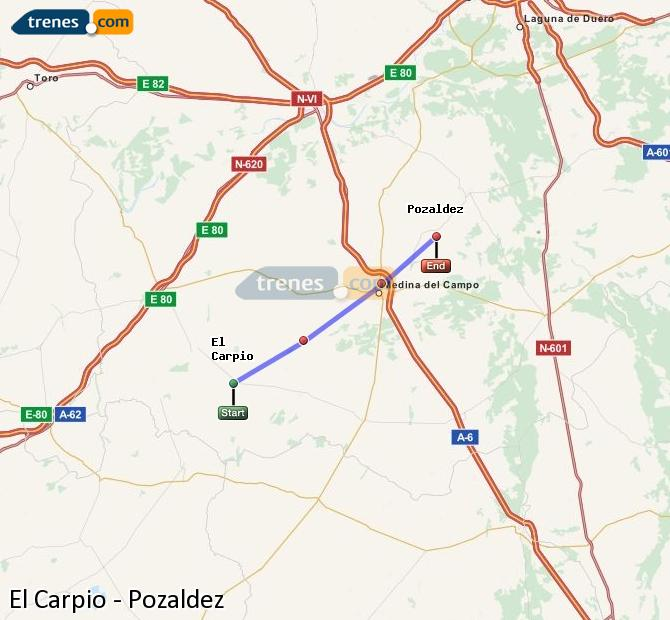 Karte vergrößern Züge El Carpio Pozaldez