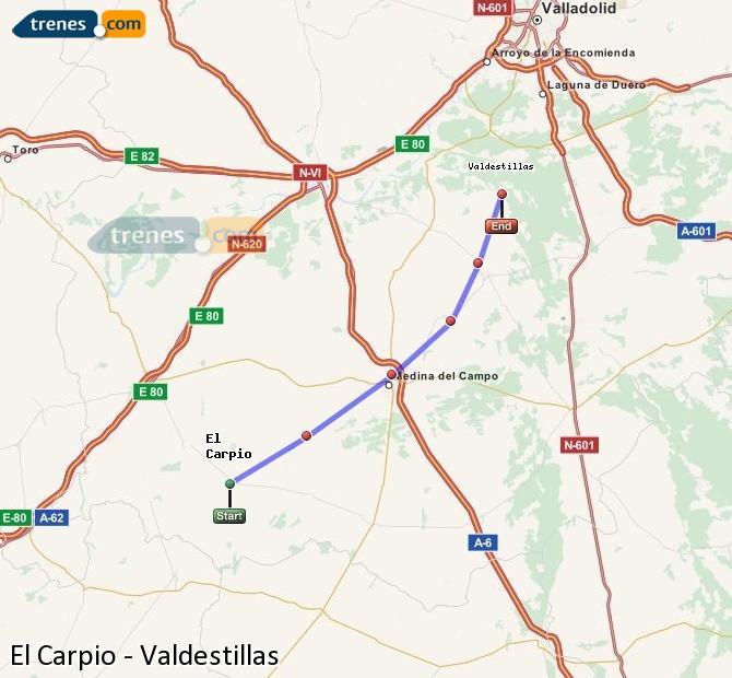 Enlarge map Trains El Carpio to Valdestillas