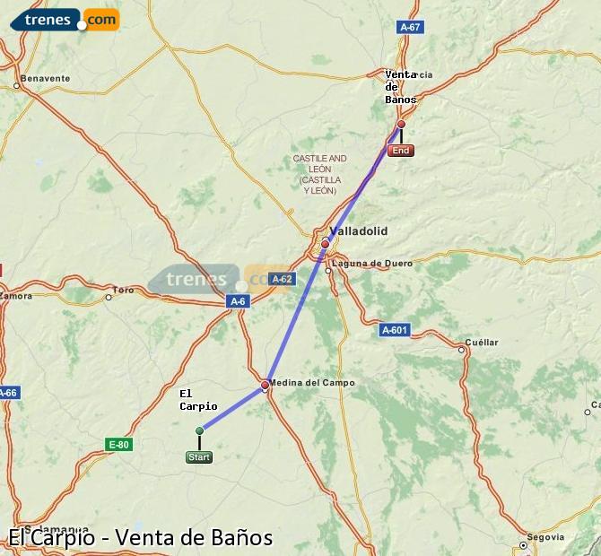 Ingrandisci la mappa Treni El Carpio Venta de Baños
