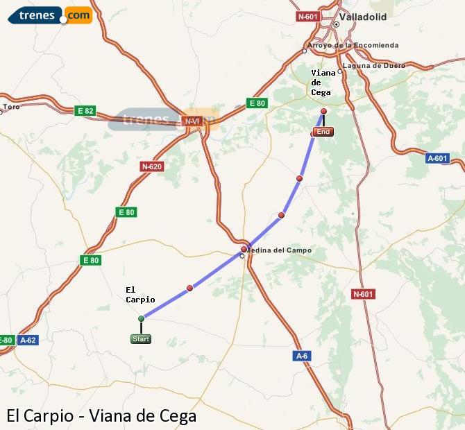 Ingrandisci la mappa Treni El Carpio Viana de Cega