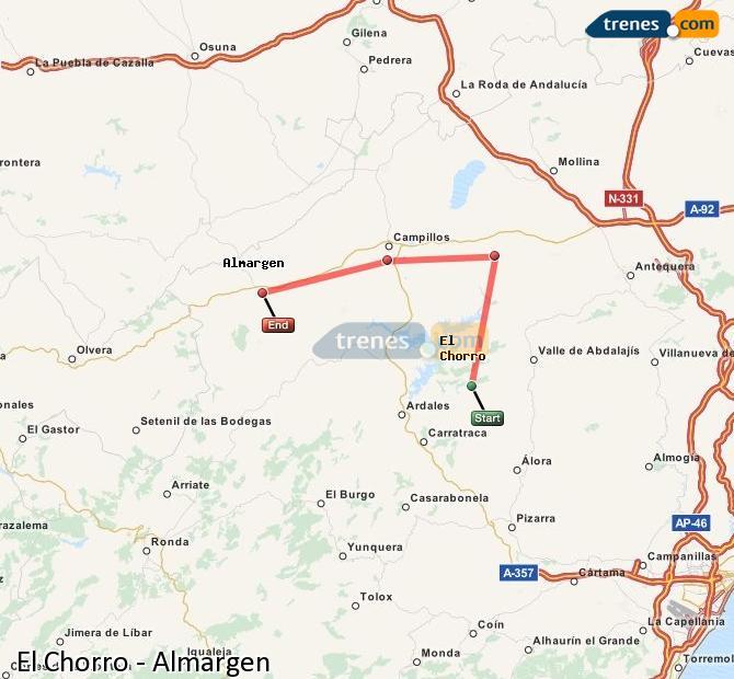 Enlarge map Trains El Chorro to Almargen