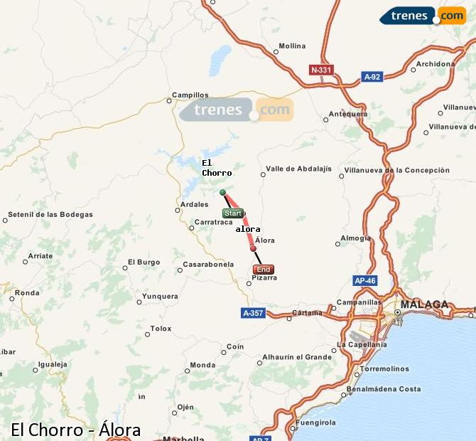 Enlarge map Trains El Chorro to Álora