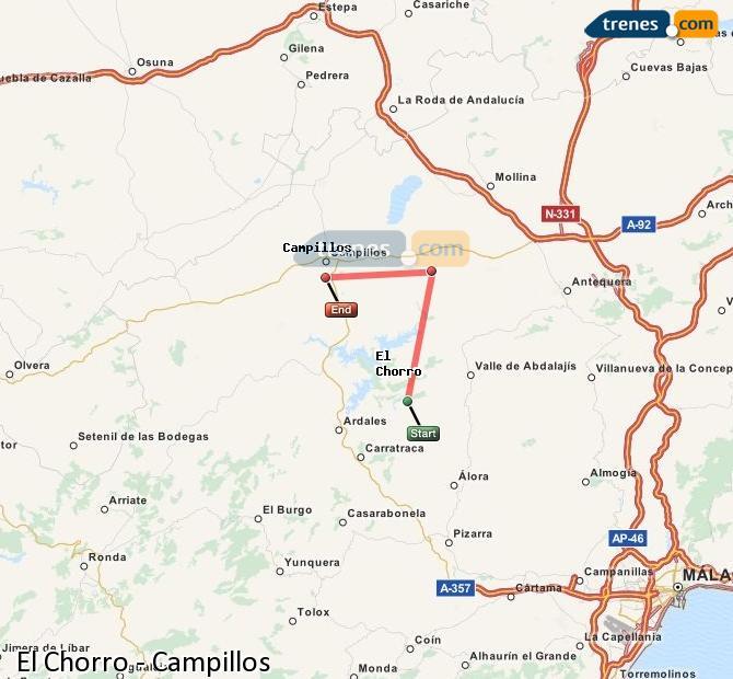 Enlarge map Trains El Chorro to Campillos