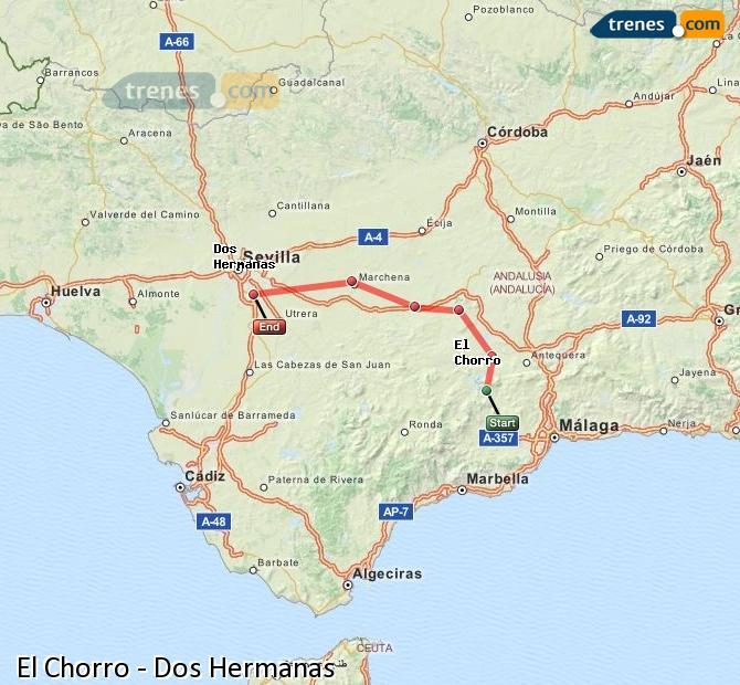 Enlarge map Trains El Chorro to Dos Hermanas