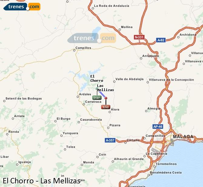 Ampliar mapa Trenes El Chorro Las Mellizas