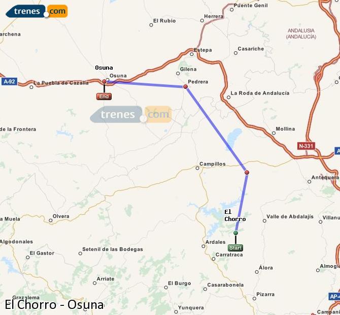 Enlarge map Trains El Chorro to Osuna