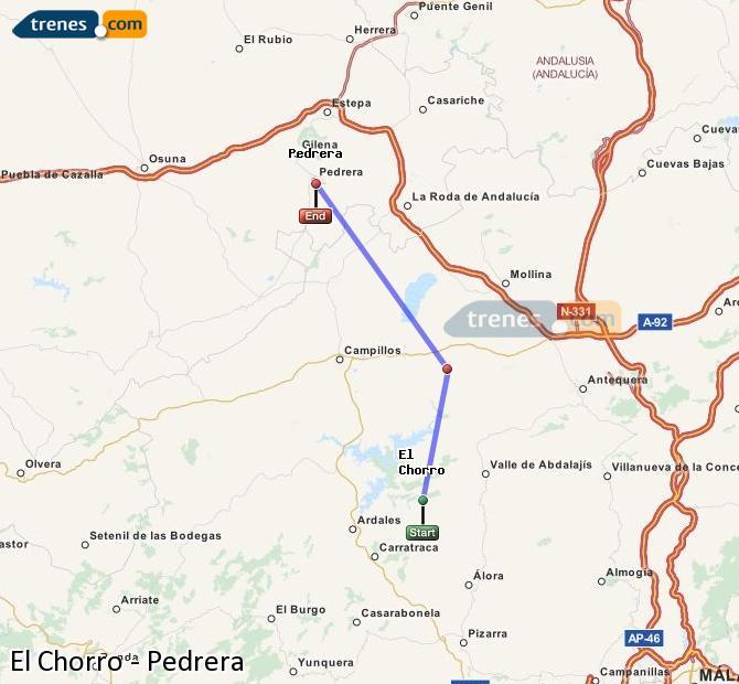 Karte vergrößern Züge El Chorro Pedrera