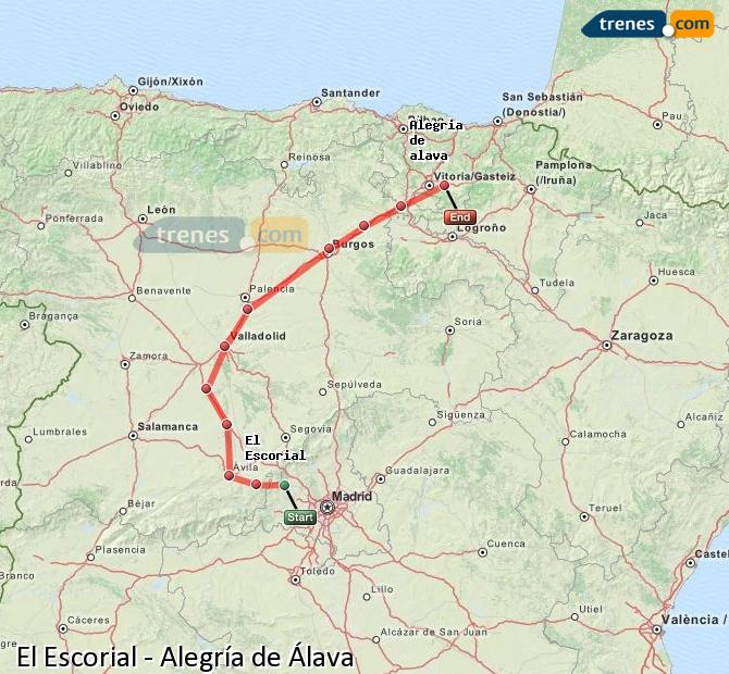 Karte vergrößern Züge El Escorial Alegría de Álava