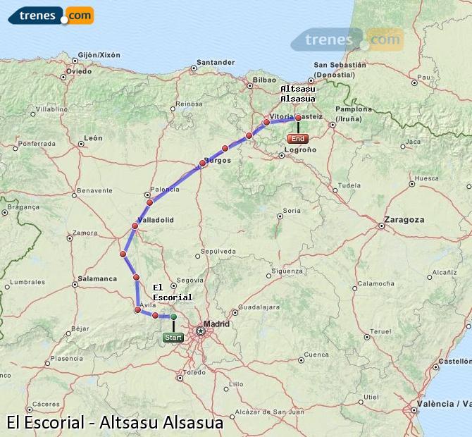 Agrandir la carte Trains El Escorial Altsasu Alsasua