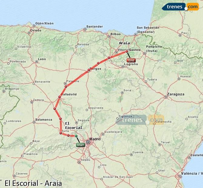 Karte vergrößern Züge El Escorial Araia