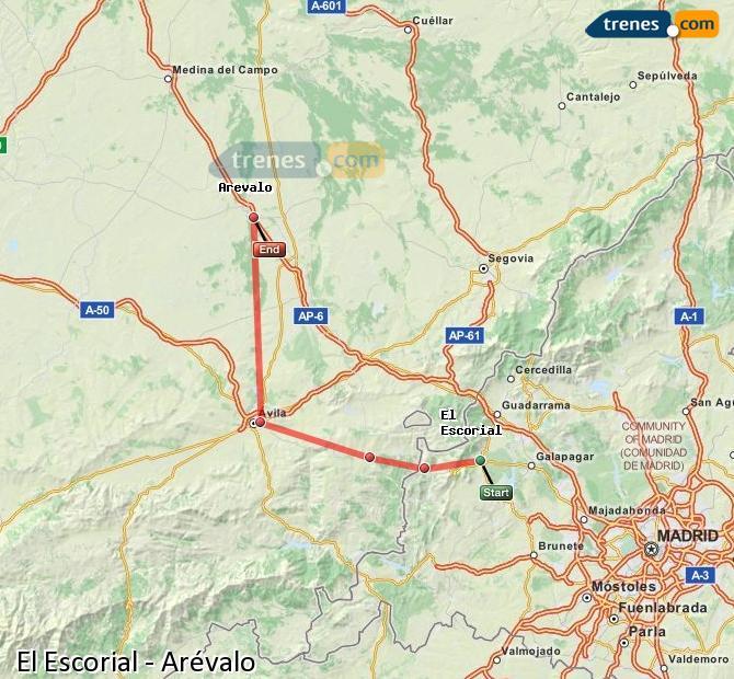 Ingrandisci la mappa Treni El Escorial Arévalo