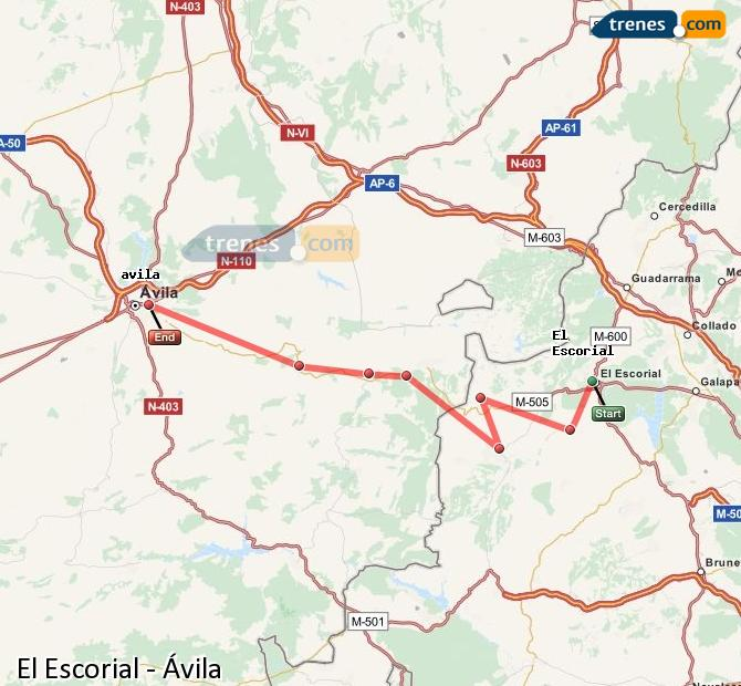 Enlarge map Trains El Escorial to Avila