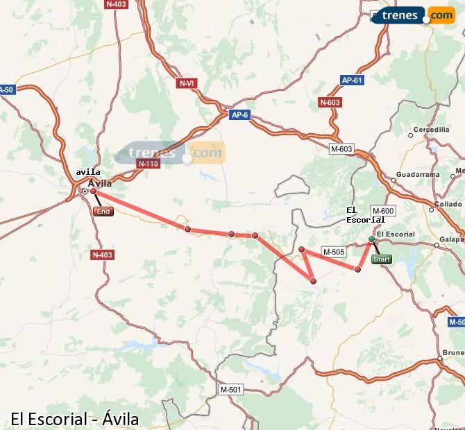 Ampliar mapa Trenes El Escorial Ávila