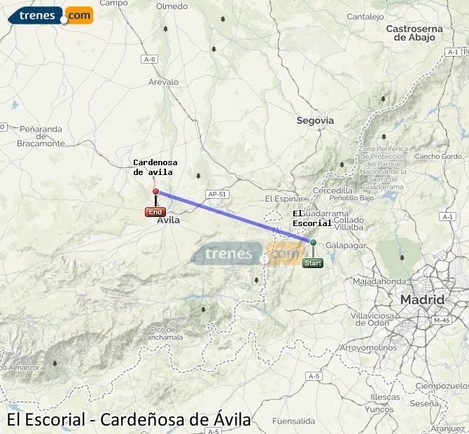Agrandir la carte Trains El Escorial Cardeñosa de Ávila