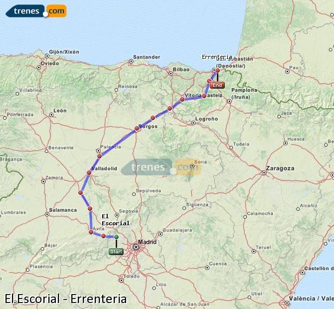 Ampliar mapa Comboios El Escorial Errenteria