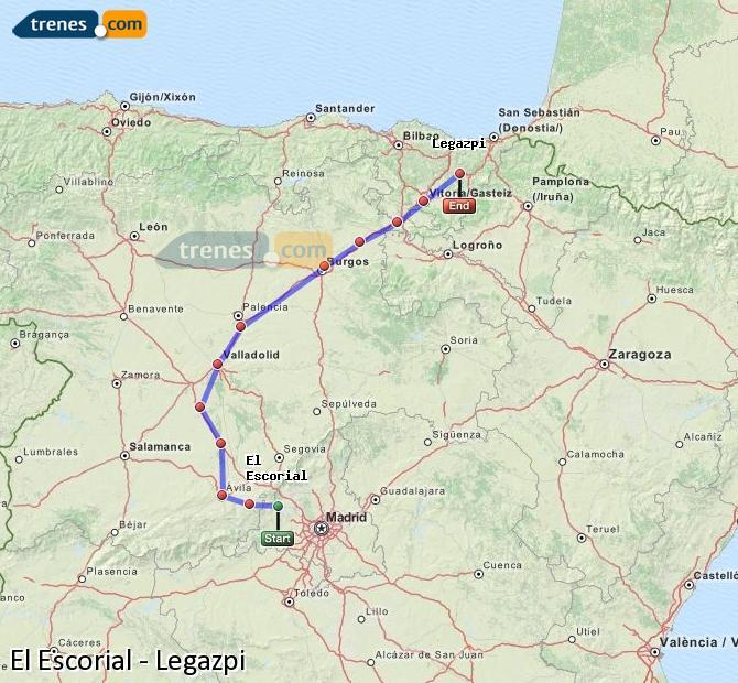 Agrandir la carte Trains El Escorial Legazpi