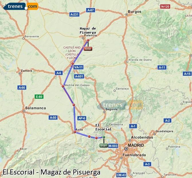 Karte vergrößern Züge El Escorial Magaz de Pisuerga