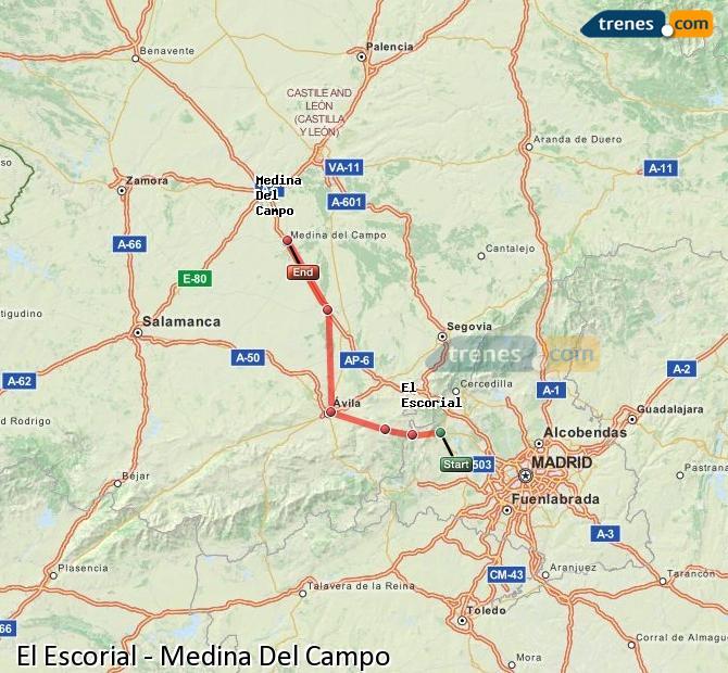 Agrandir la carte Trains El Escorial Medina Del Campo