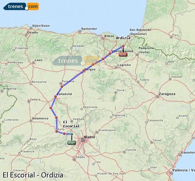 Karte vergrößern Züge El Escorial Ordizia