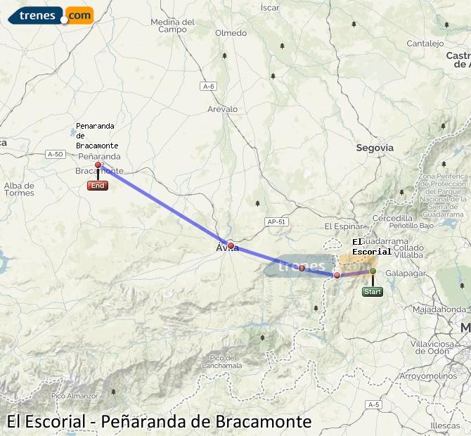 Ampliar mapa Comboios El Escorial Peñaranda de Bracamonte