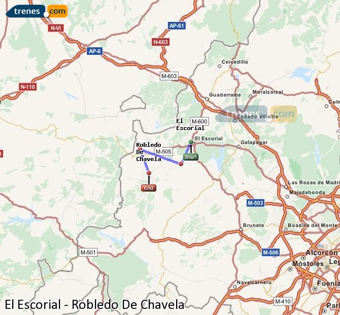 Enlarge map Trains El Escorial to Robledo De Chavela