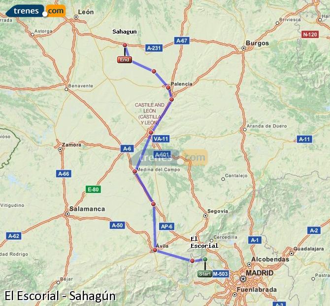 Karte vergrößern Züge El Escorial Sahagún