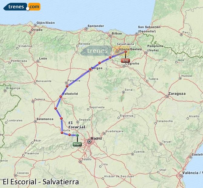 Karte vergrößern Züge El Escorial Salvatierra