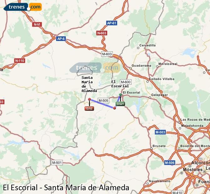 Enlarge map Trains El Escorial to Santa Maria de Alameda