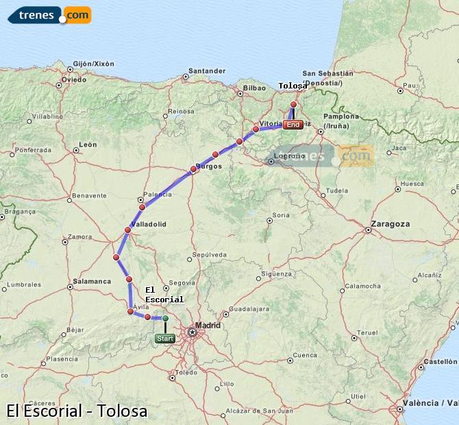 Karte vergrößern Züge El Escorial Tolosa