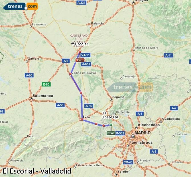 Karte vergrößern Züge El Escorial Valladolid
