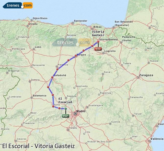 Agrandir la carte Trains El Escorial Vitoria Gasteiz