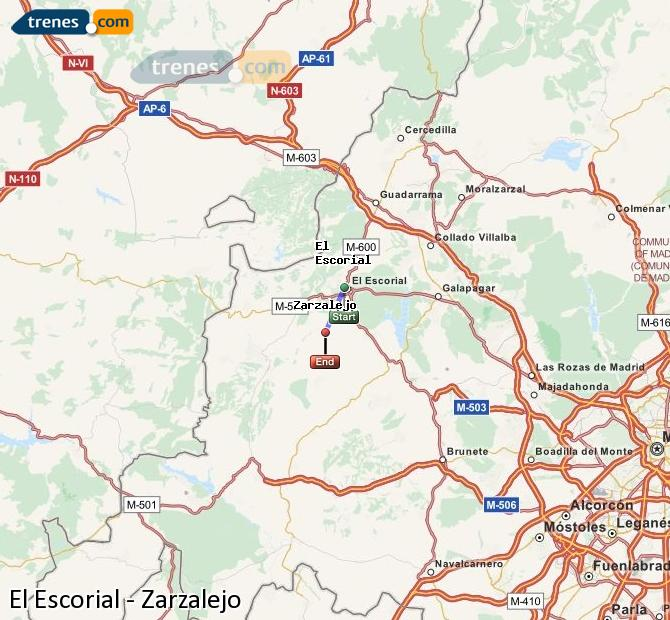 Karte vergrößern Züge El Escorial Zarzalejo