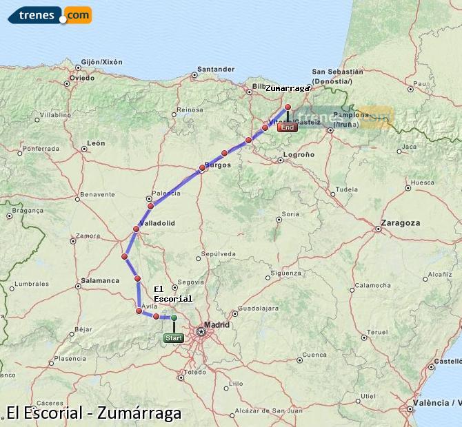 Karte vergrößern Züge El Escorial Zumárraga