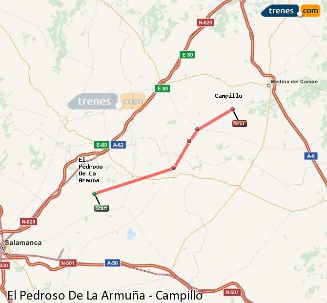 Karte vergrößern Züge El Pedroso De La Armuña Campillo