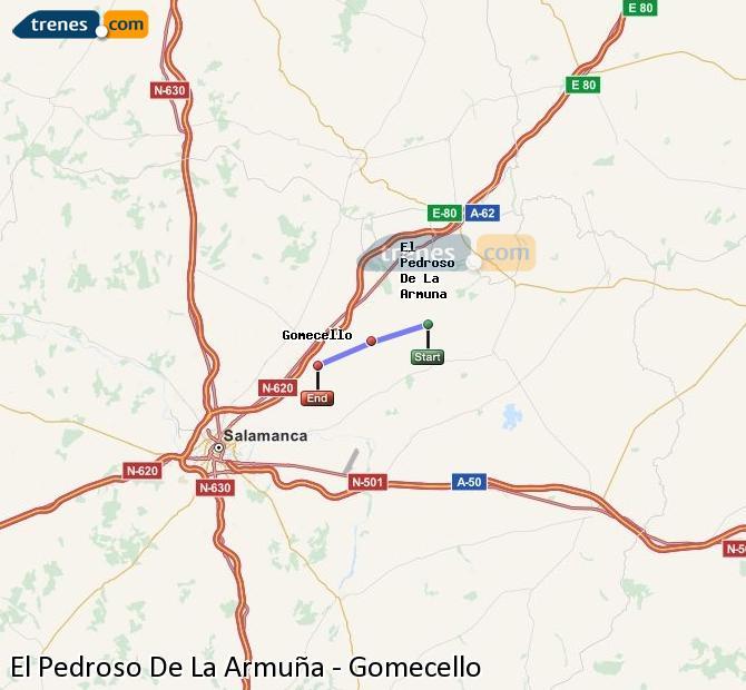 Agrandir la carte Trains El Pedroso De La Armuña Gomecello