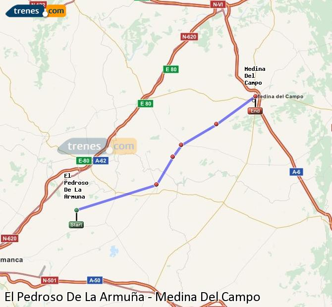 Enlarge map Trains El Pedroso De La Armuña to Medina Del Campo
