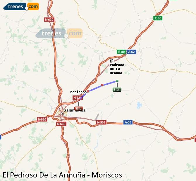 Enlarge map Trains El Pedroso De La Armuña to Moriscos