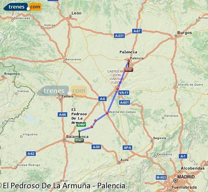 Agrandir la carte Trains El Pedroso De La Armuña Palencia