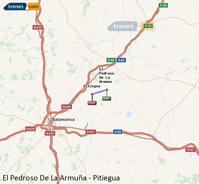 Enlarge map Trains El Pedroso De La Armuña to Pitiegua