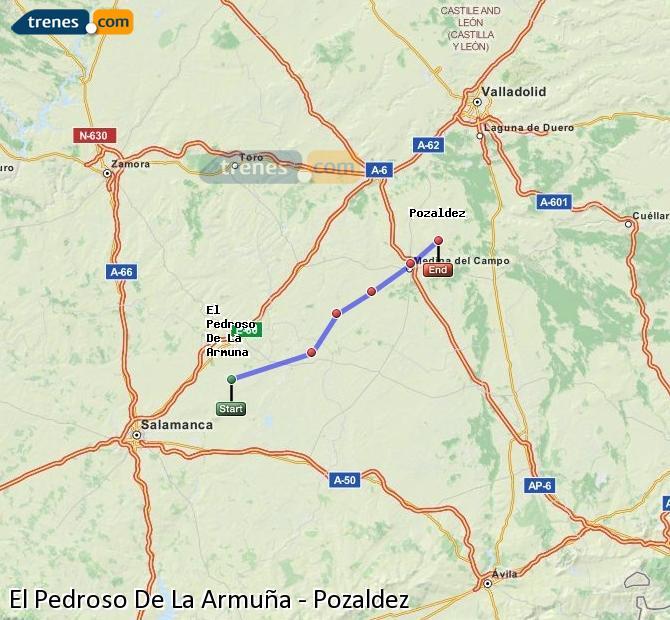 Enlarge map Trains El Pedroso De La Armuña to Pozaldez