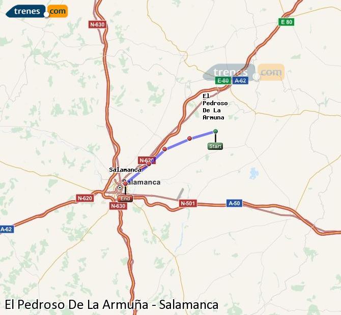 Enlarge map Trains El Pedroso De La Armuña to Salamanca