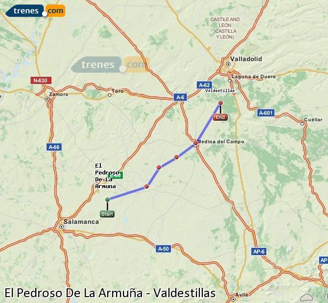 Enlarge map Trains El Pedroso De La Armuña to Valdestillas