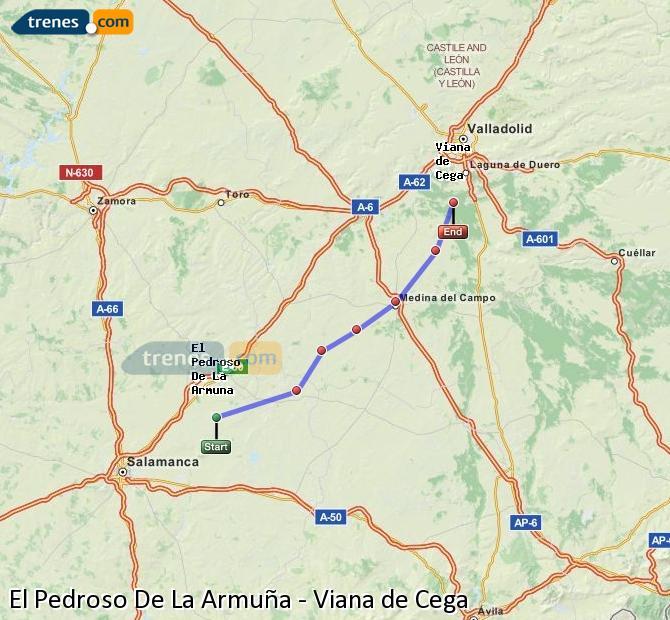 Enlarge map Trains El Pedroso De La Armuña to Viana de Cega