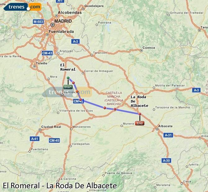 Enlarge map Trains El Romeral to La Roda De Albacete